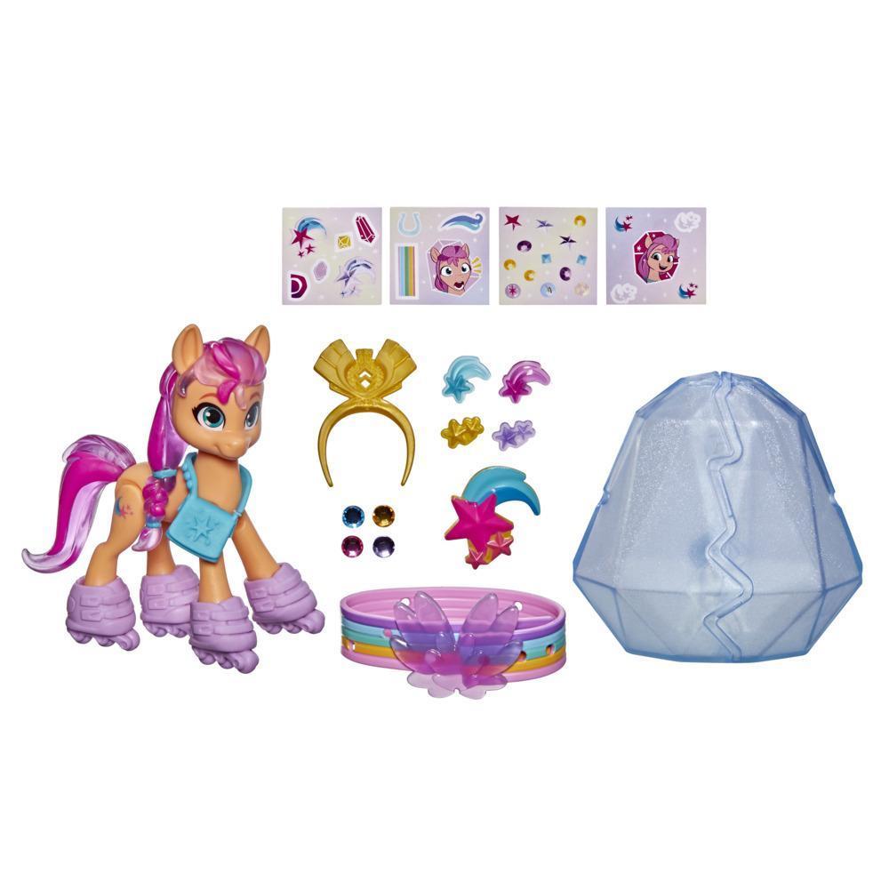 My Little Pony: A New Generation, Aventure de cristal Sunny Starscout, figurine de poney orange de 7,5 cm avec surprises