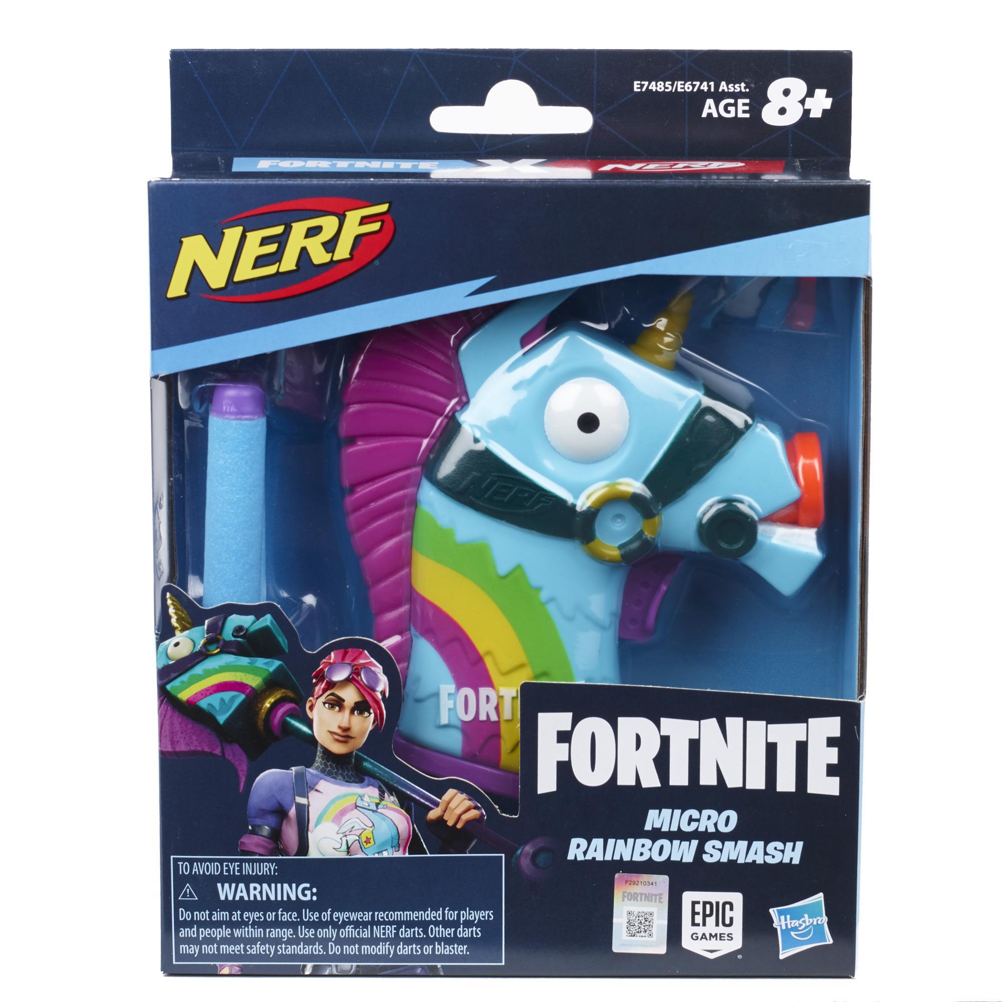 Nerf MicroShots Fortnite, Rainbow Smash, mini blaster, 2 fléchettes Nerf Elite officielles, pour jeunes, ados et adultes