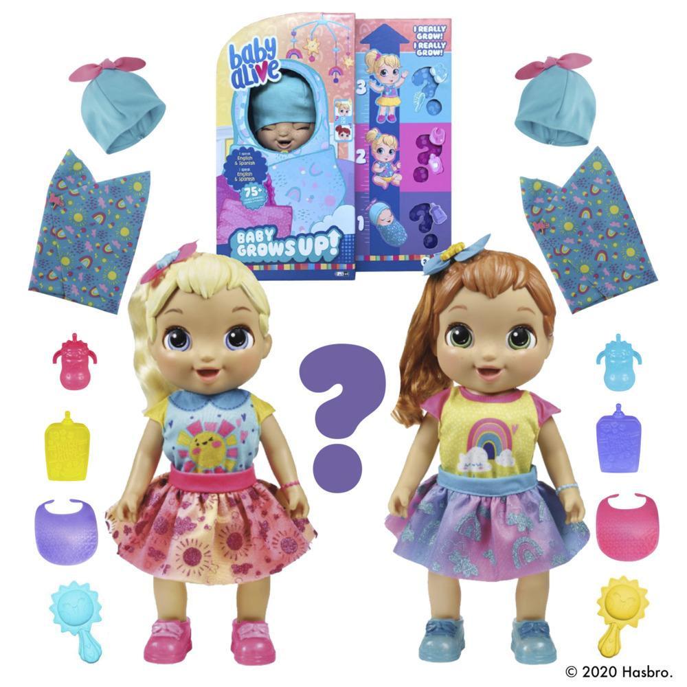 Baby Alive, Baby Grows Up (Bonheur), Happy Hope ou Merry Meadow, poupée qui croît et parle, accessoires mystères