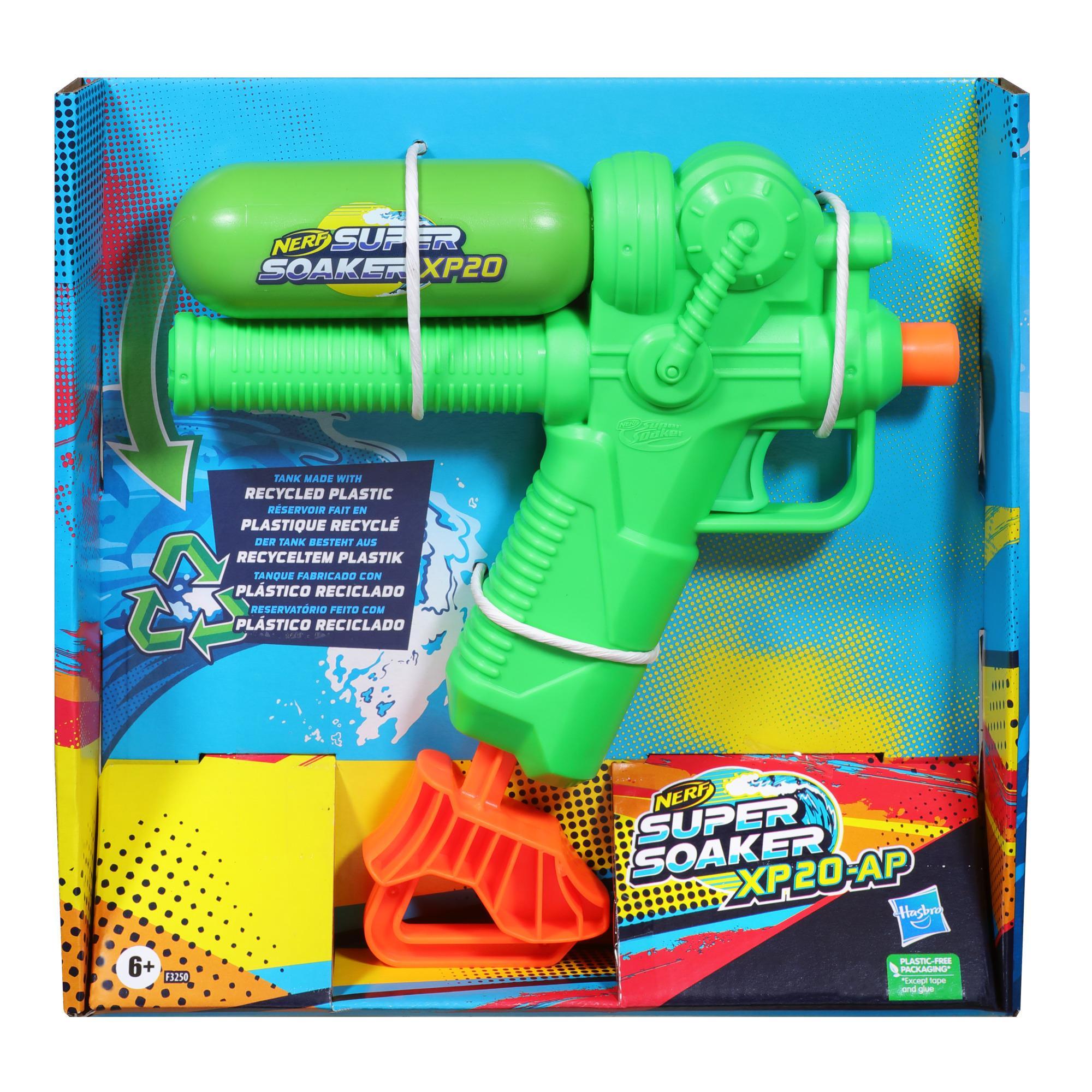 Nerf Super Soaker, blaster à eau XP20-AP, réservoir fait en plastique recyclé, jet d'eau continu à air comprimé