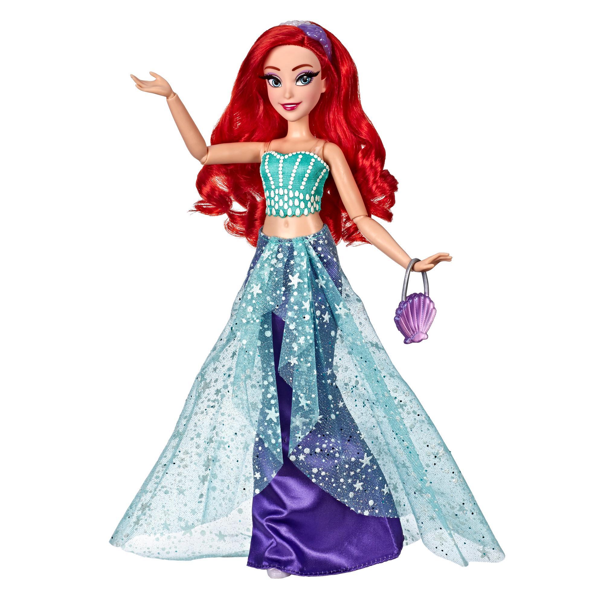 Disney Princess, série Style, poupée Ariel au style moderne avec robe, bandeau, sac à main et chaussures, pour enfants