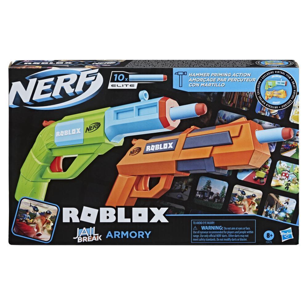 Nerf Roblox Jailbreak: Armory, inclut 2blasters, 10fléchettes Nerf, un code pour article virtuel dans le jeu