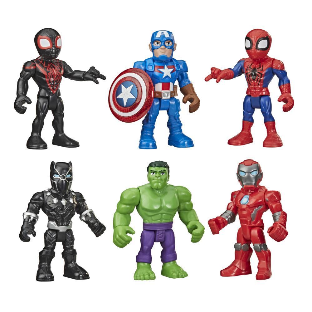 Marvel Playskool Heroes Super Hero Adventures, Pack de 6 figurines de 12,5 cm, 6 accessoires, pour enfants dès 3 ans