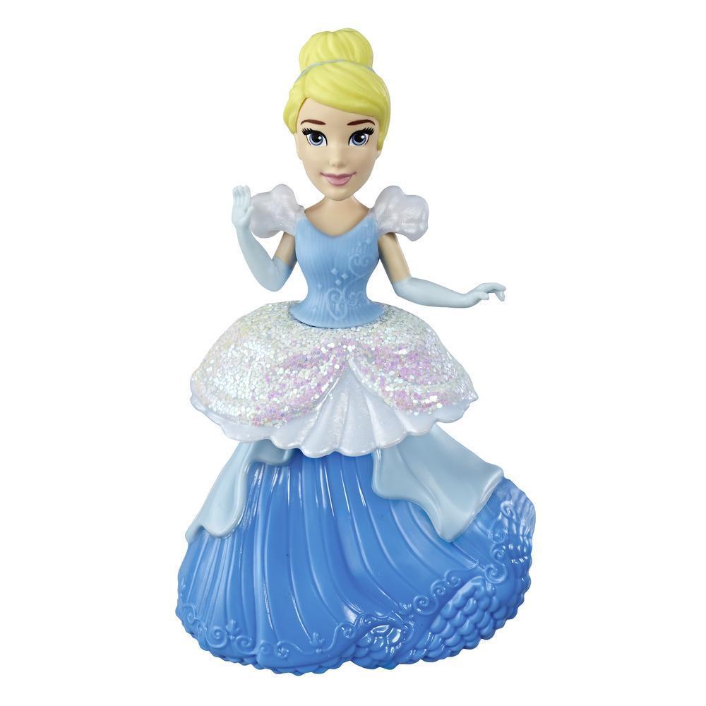 Disney Princesses Royal Clip - Mini poupée Cendrillon de collection avec tenue bleue et blanche scintillante, jouet pour les enfants à partir de 3ans