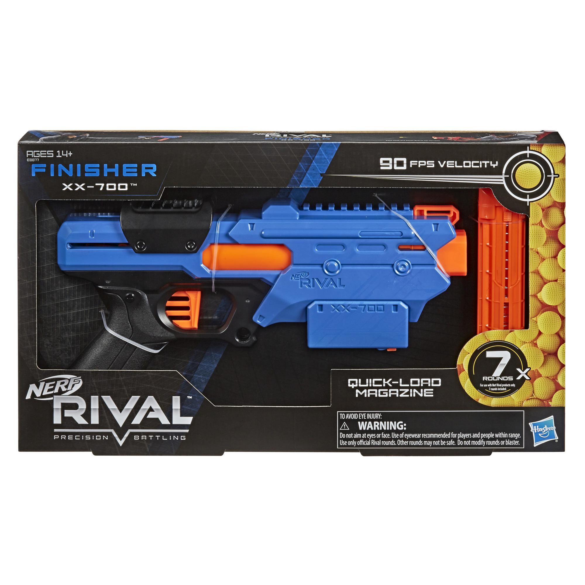 Blaster Nerf Rival Finisher XX-700, chargeur à remplissage rapide, mécanisme à ressort, 7 billes Nerf Rival, équipe bleue