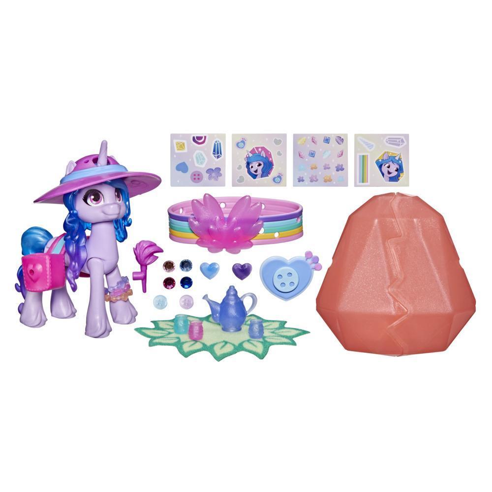 My Little Pony: A New Generation, Aventure de cristal Izzy Moonbow, figurine de poney violette de 7,5 cm avec surprises