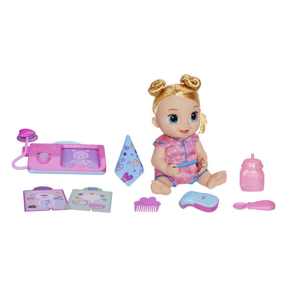 Baby Alive poupée Lulu Achoo, poupée interactive de 30 cm : sons, lumières et mouvements, cheveux blonds, enfants, dès 3 ans