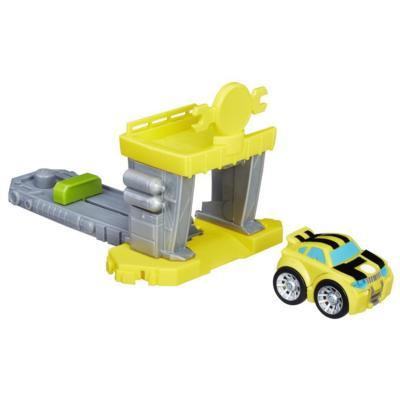 Playskool Heroes Transformers Rescue Bots Flip Racers - Garage à catapulte de Bumblebee