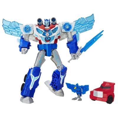Transformers : Robots in Disguise - Figurine Optimus Prime Déluge de puissance et Aerobolt