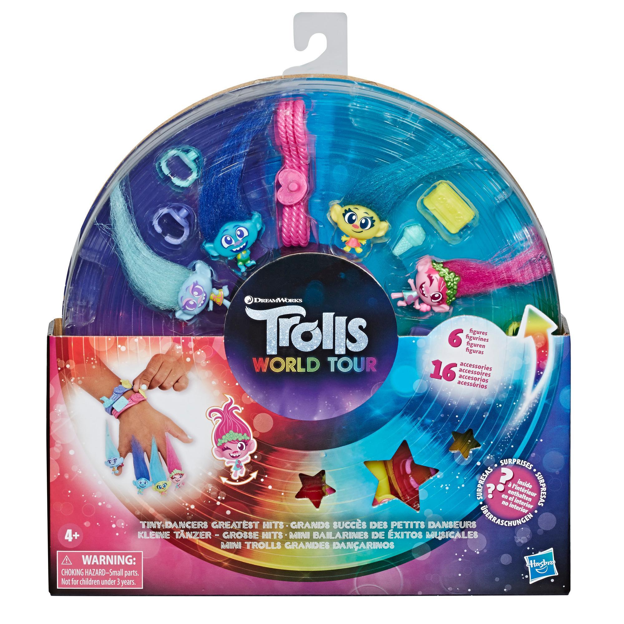 Les Trolls de DreamWorks, Grands succès des petits danseurs, jouet avec 6figurines de collection, collier, 2bracelets et autres