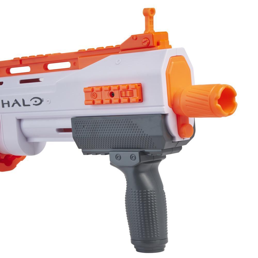 Nerf Halo, blaster Bulldog SG à pompe, barillet rotatif 10 fléchettes, rails tactiques, 10 fléchettes Nerf, code pour jeu