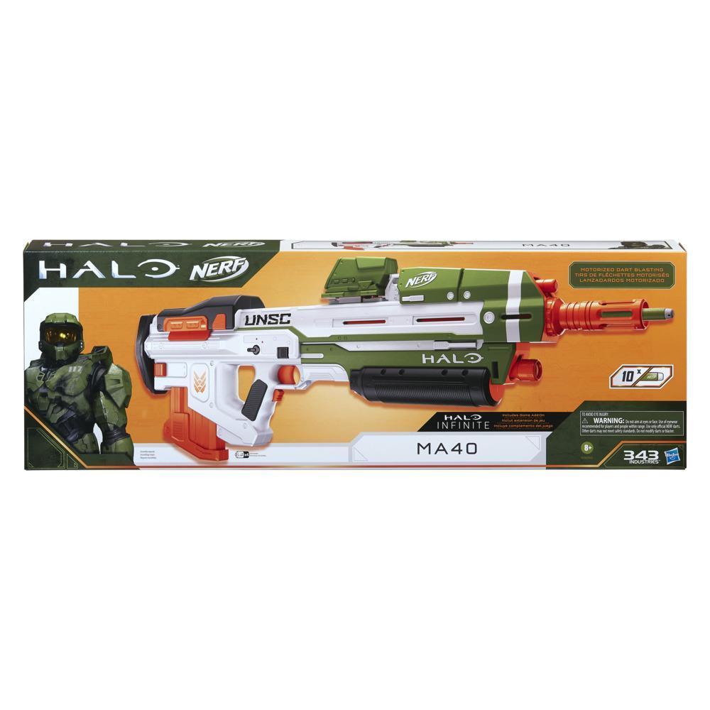 Nerf Halo, blaster à fléchettes motorisé MA40, inclut chargeur amovible 10 fléchettes, 10 fléchettes Nerf Elite officielles, rail d'appoint