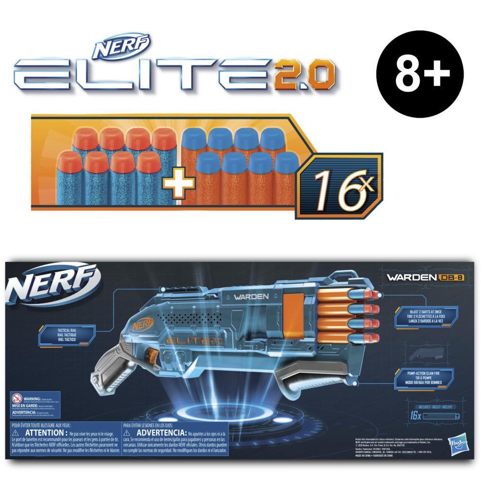 Nerf Elite 2.0, blaster Warden DB-8, 16 fléchettes Nerf officielles, tire 2 fléchettes d'un coup, rail tactique pour personnaliser, tir à pompe