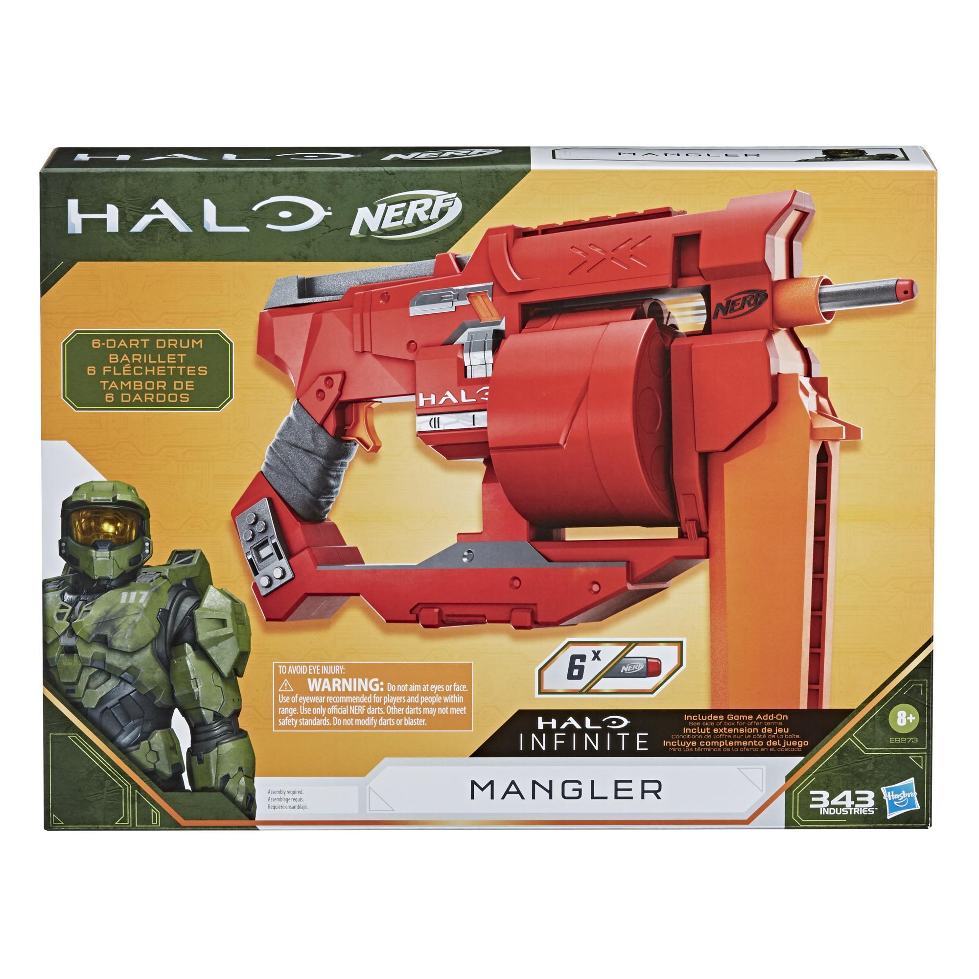 Nerf Halo, blaster à fléchette Mangler, poignée d'amorçage, barillet rotatif 6 fléchettes, inclut 6 fléchettes Nerf Elite officielles