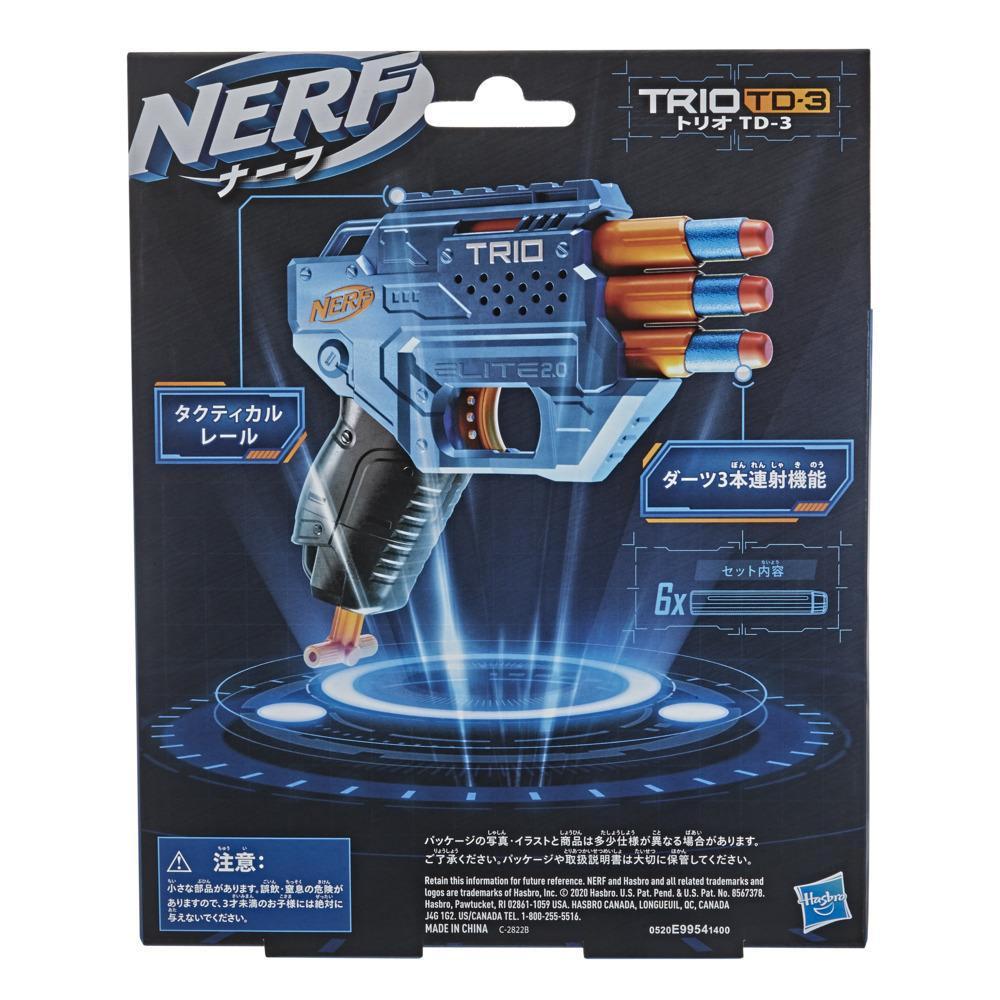 Nerf Elite 2.0, blaster Trio SD-3, inclut 6 fléchettes officielles Nerf, 3 canons, rail tactique pour personnaliser son blaster