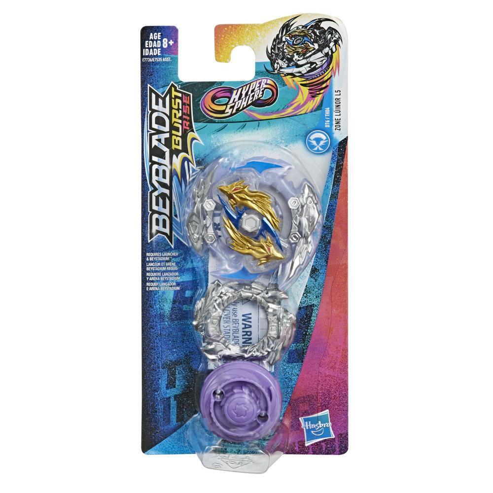 Beyblade Burst Rise Hypersphere - Toupie de compétition Zone Luinor L5, type attaque, à partir de 8 ans