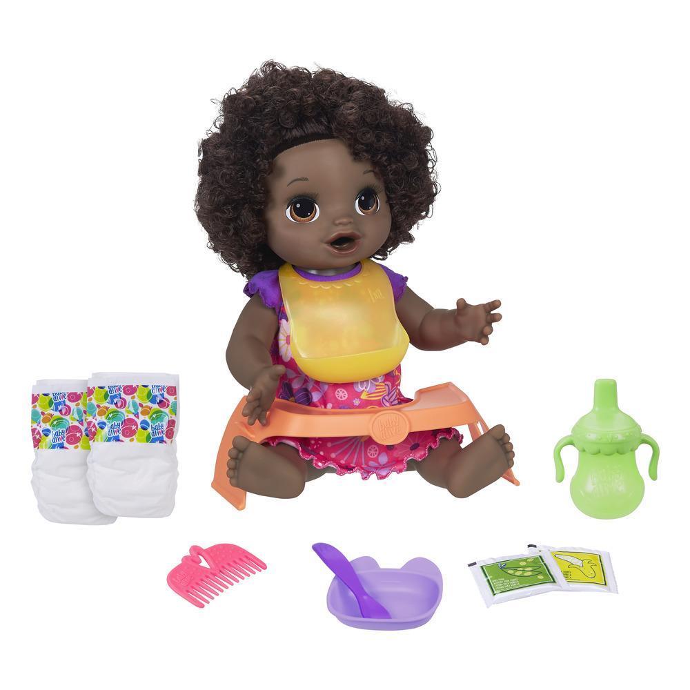 Baby Alive, poupée Bébé adore manger, aux cheveux noirs et frisés