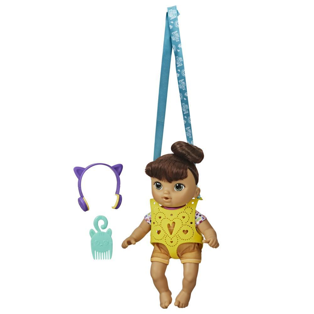 Little de Baby Alive, Poupon et son porte-bébé, Petite Nadia, poupée aux cheveux bruns, porte-poupée, jouet pour enfants, à partir de 3ans