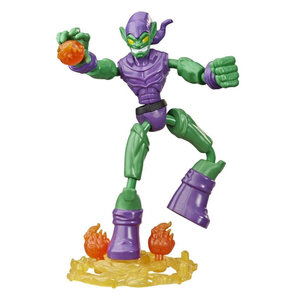Marvel Spider-Man Bend and Flex, figurine flexible Green Goblin de 15 cm, avec accessoires effet de combat, à partir de 6 ans