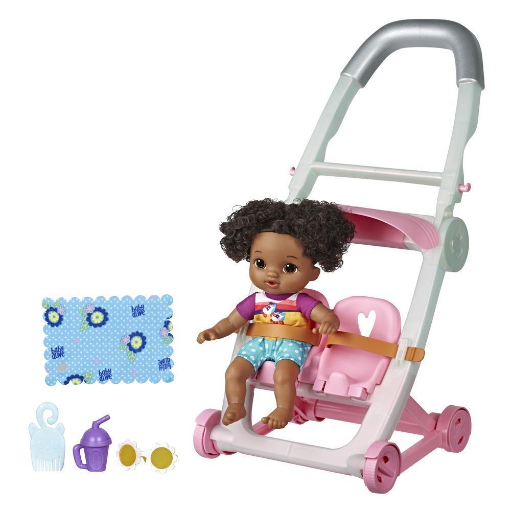Little de Baby Alive, Poussette et Petite Lola, poupée aux cheveux noirs, jambes mobiles, jouet pour enfants, à partir de 3ans