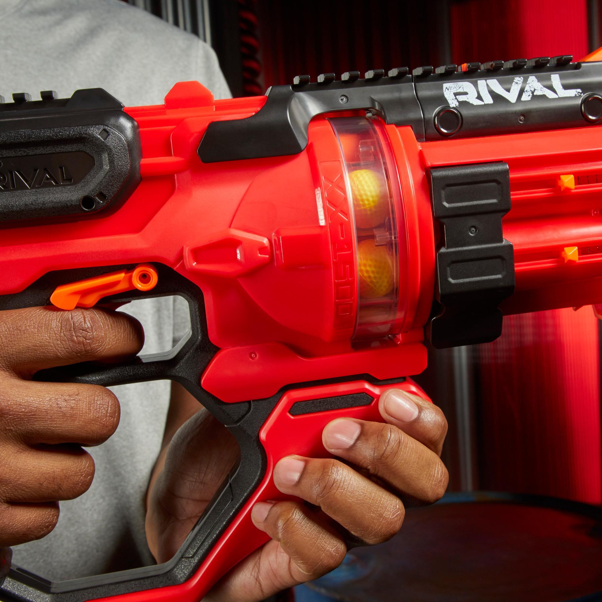 Nerf Rival - Blaster rouge Roundhouse XX-1500, chambre rotative transparente, 5 chargeurs intégrés, 15 billes en mousse Nerf Rival