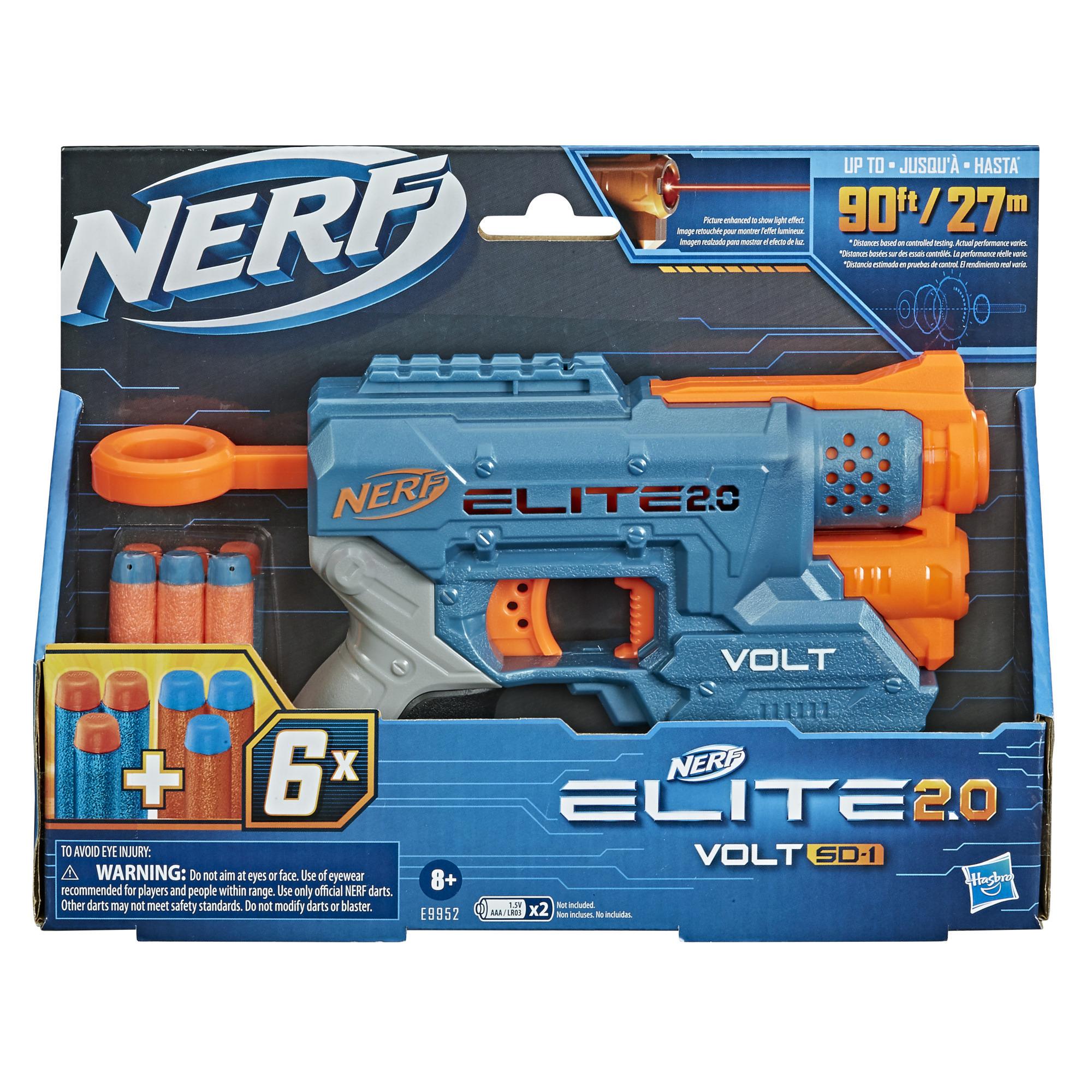 Nerf Elite 2.0, blaster Volt SD-1, 6 fléchettes Nerf, faisceau lumineux, rangement pour 2 fléchettes, 2 rails tactiques