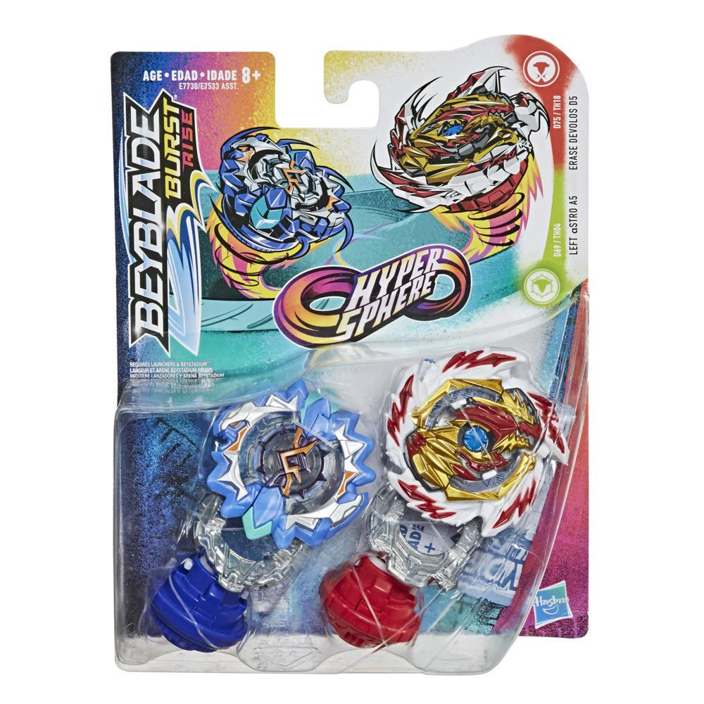 Beyblade Burst Rise Hypersphere - Pack de 2 Erase Devolos D5 et Left Astro A5, 2 toupies de compétition, à partir de 8 ans