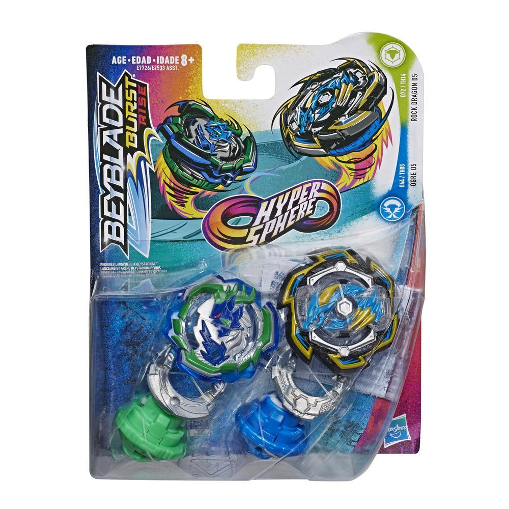 Beyblade Burst Rise Hypersphere - Pack de 2 Rock Dragon D5 et Ogre O5