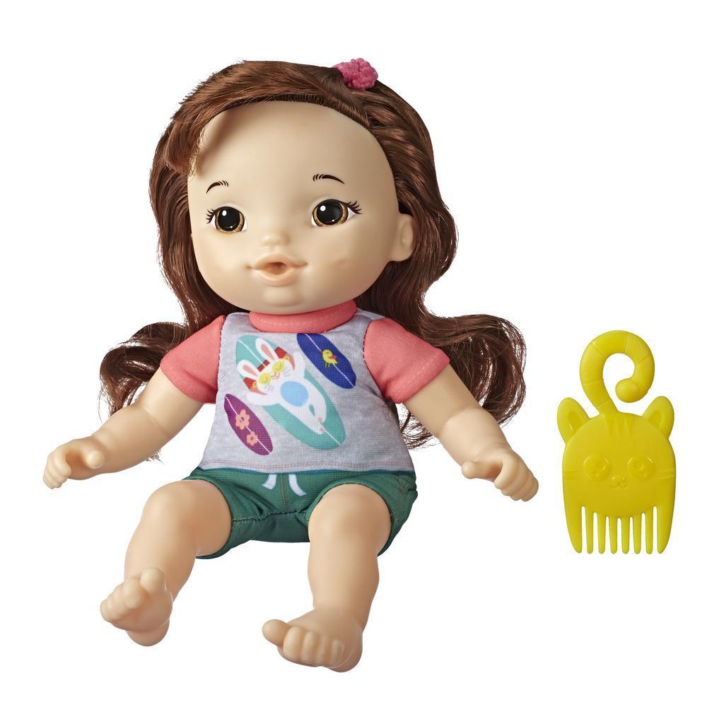 Littles de Baby Alive, Petite Maya, cheveux bruns, poupée et peigne, taille : 22,5 cm, pour enfants, à partir de 3 ans