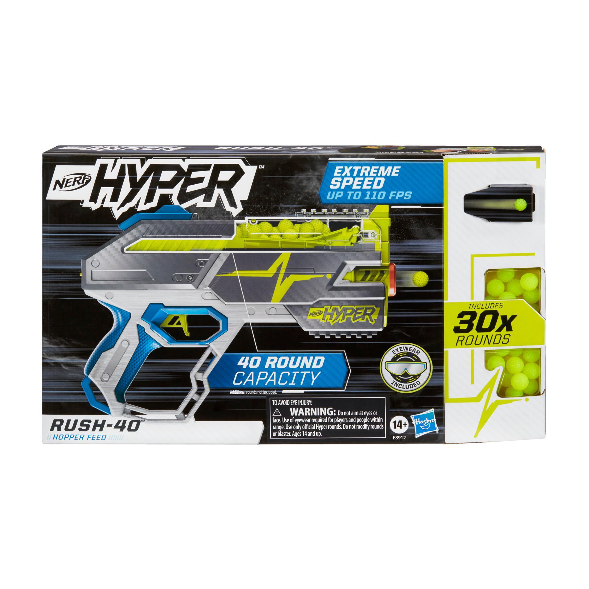 Nerf Hyper, blaster Rush-40, 30 billes en mousse Nerf Hyper, vitesse de 33 m/s, recharge facile, capacité de 40 billes