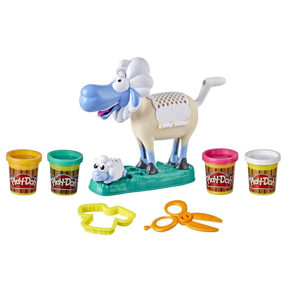 Play-Doh, Animal Crew, Sherrie Brebis ébouriffée, jouet avec 4 pots de pâte Play-Doh colorée et atoxique