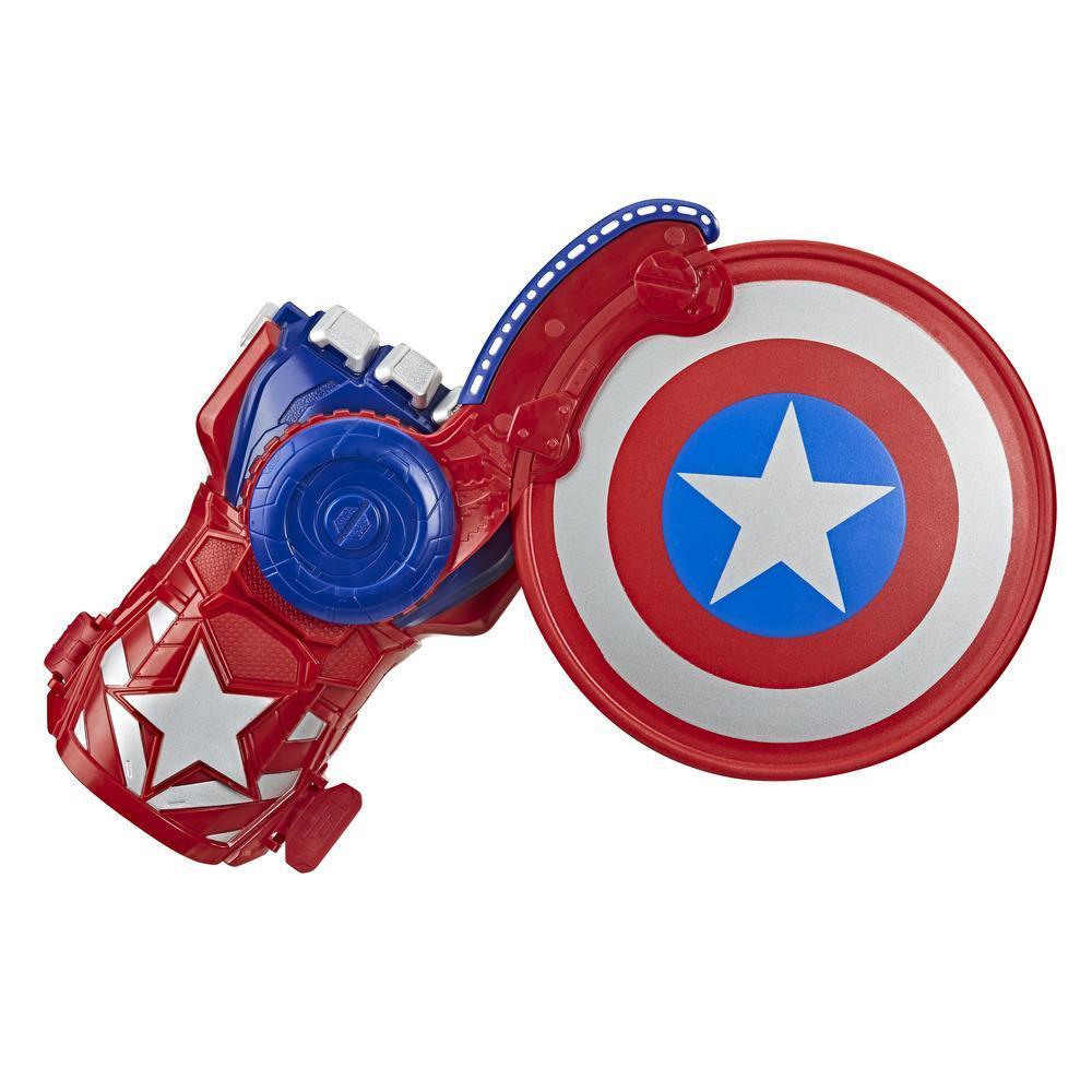 NERF Power Moves Marvel Avengers Captain America Lanceur de bouclier, jouet lance-disque pour jeu de rôle, enfants à partir de 5 ans