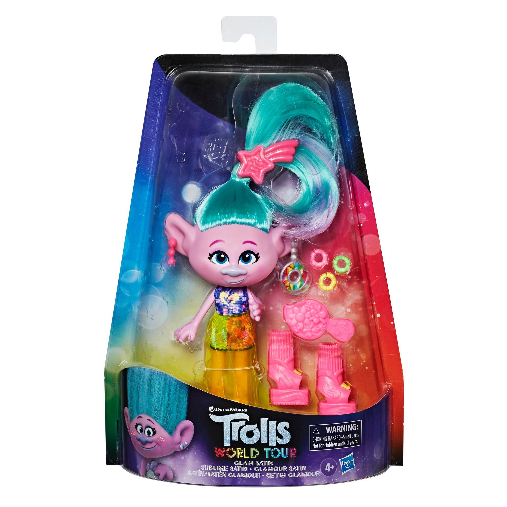 DreamWorks Trolls World - Seta Glamour - Bambola con vestito e altri accessori, ispirata al film Trolls World Tour, giocattolo per bambine