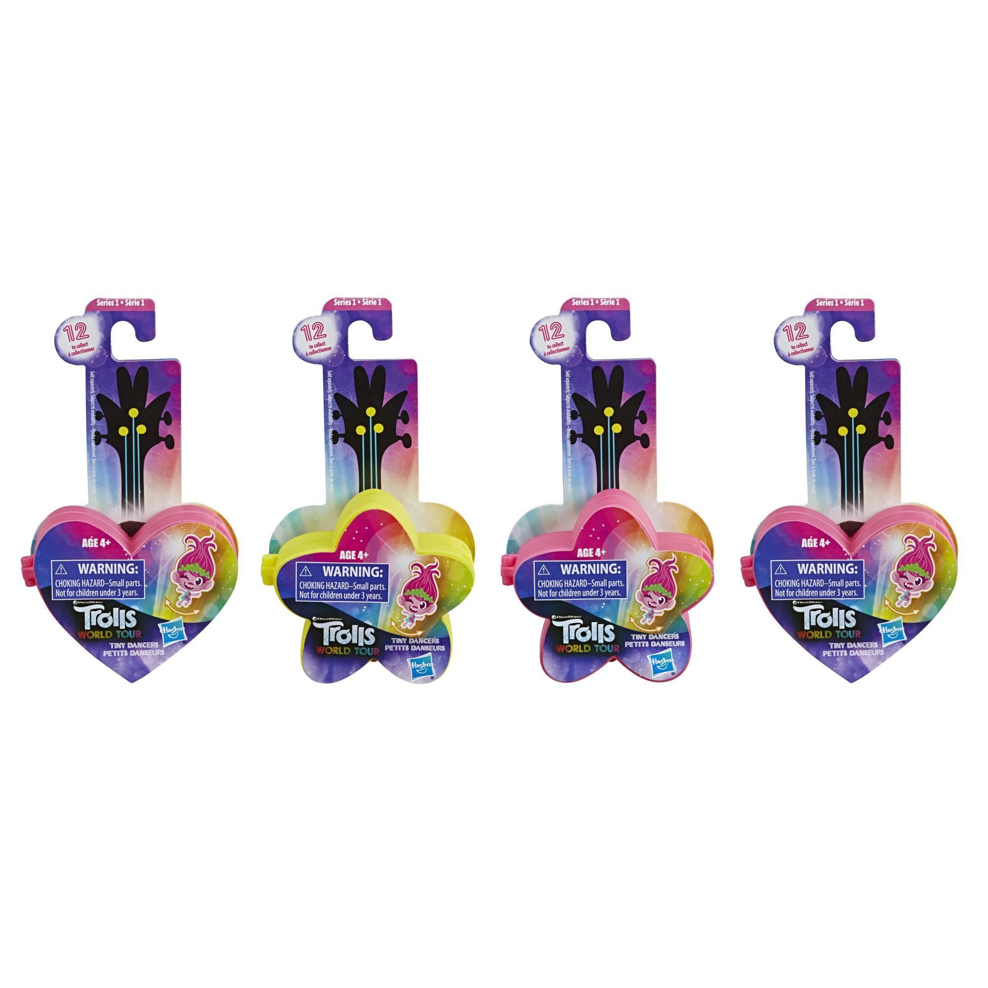 Trolls World Tour - Tiny Dancers Serie 1 (confezione sorpresa da 4 bambole, include mollette, anelli ed occhiali)