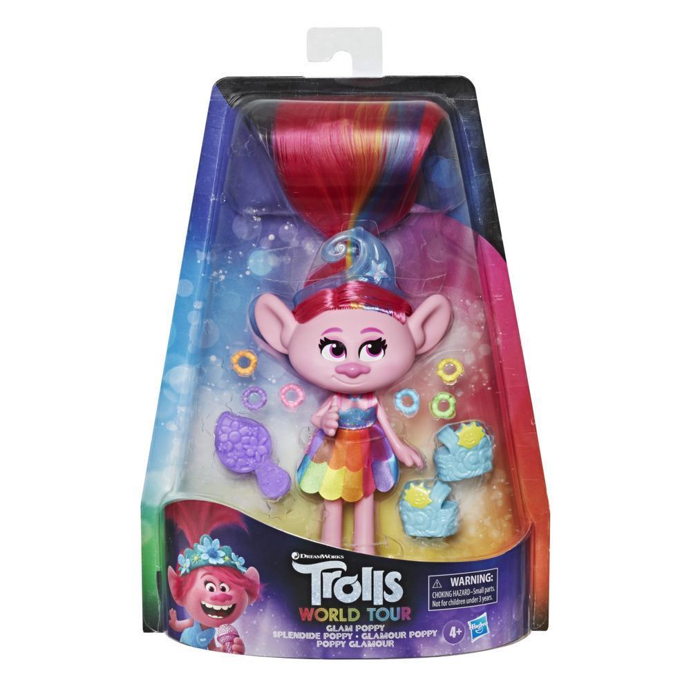 DreamWorks Trolls World - Poppy Glamour - Bambola con vestito e altri accessori, ispirata al film Trolls World Tour, giocattolo per bambine