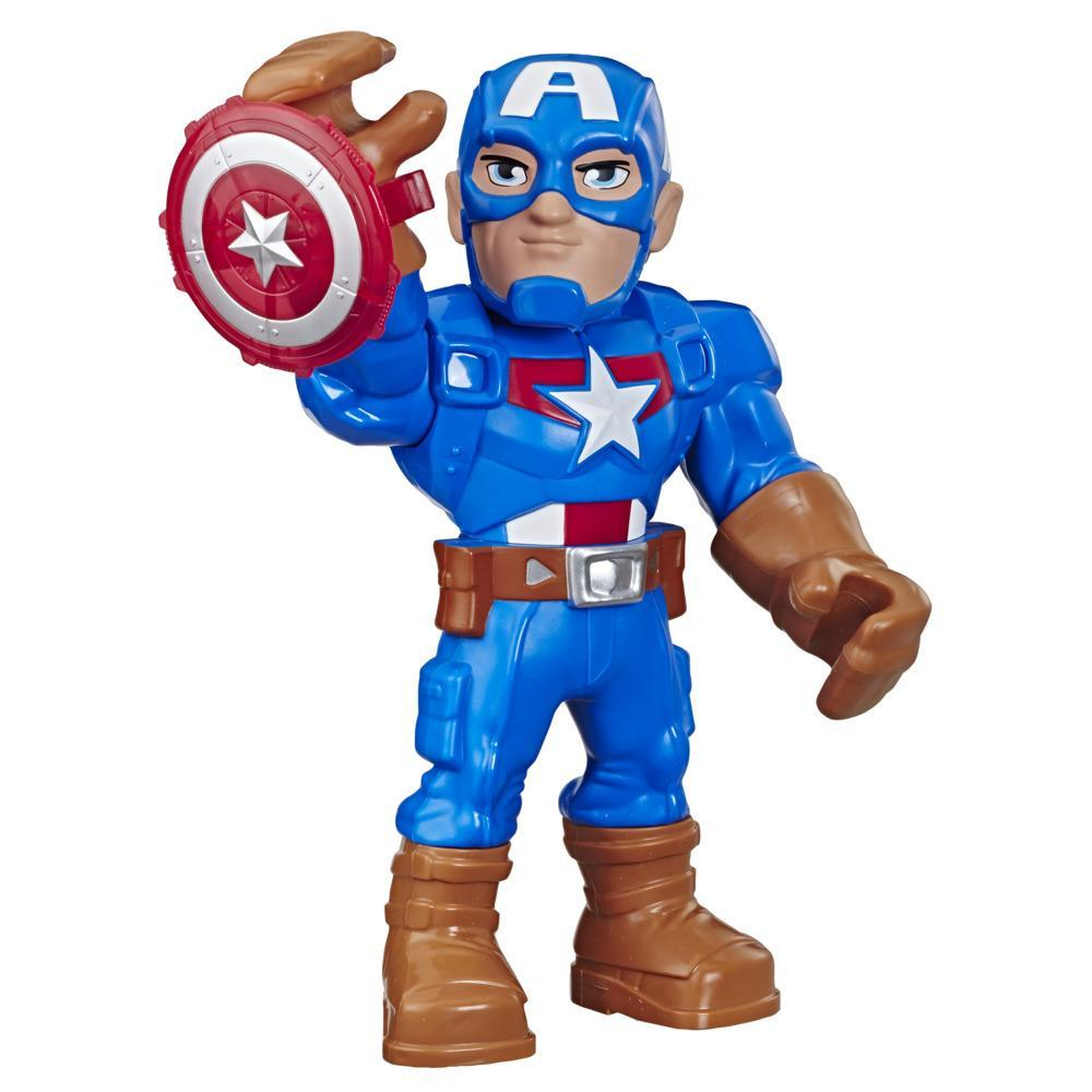 Marvel Super Hero Adventures - Captain America (Action figure 25 cm da collezione, Playskool Heroes Mega Mighties)