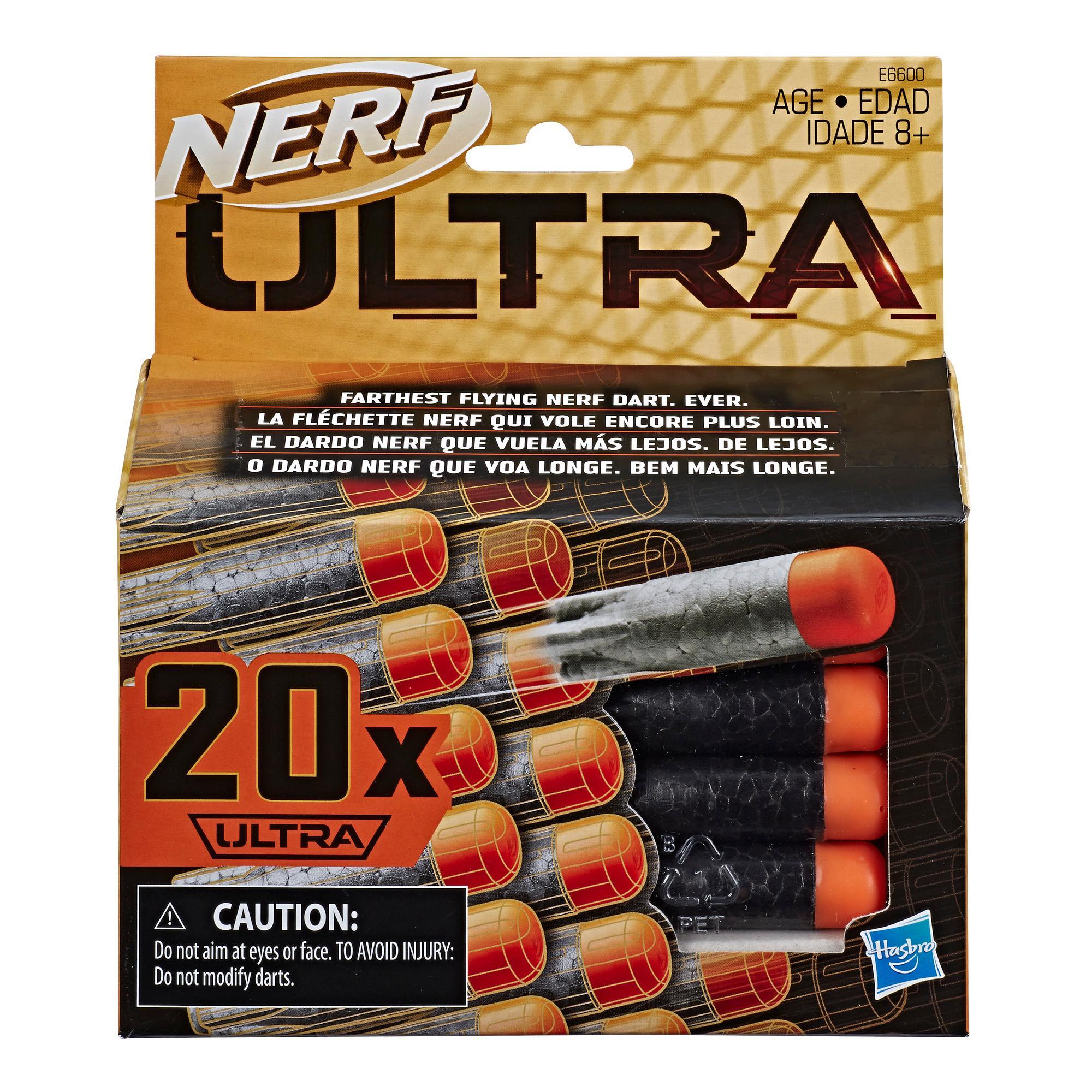 Nerf Ultra One Confezione di ricarica da 20 dardi - I dardi che volano più lontano che mai - Compatibile soltanto con i blaster Nerf Ultra One