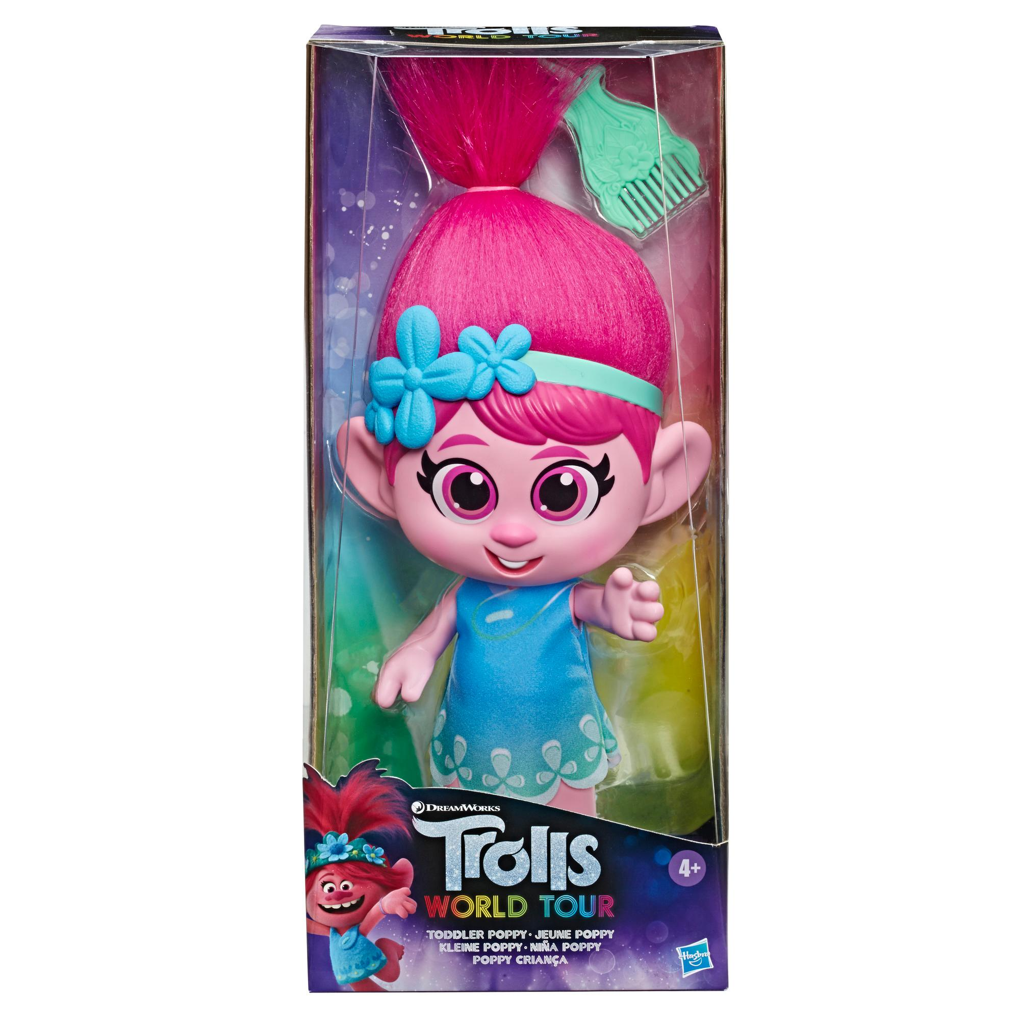 DreamWorks Trolls World Tour - Bambola Poppy bambina vestito rimovibile e pettine, ispirata al film Trolls World Tour