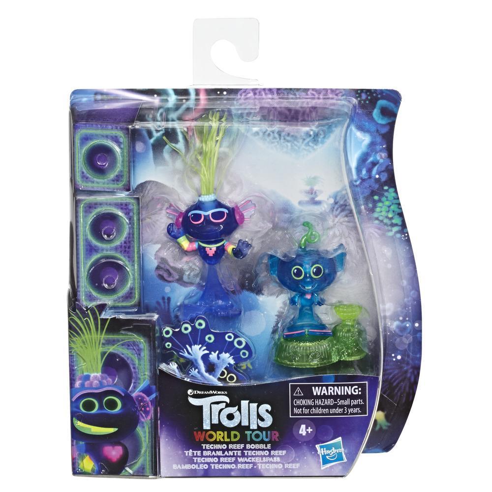 DreamWorks, Trolls World Tour Techno Reef pupazzo con testa dondolante con 2 figure, 1 con meccanismo di oscillazione della testa più piedistallo