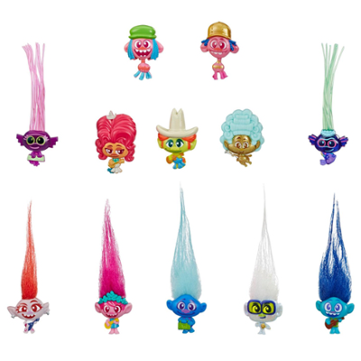 DreamWorks Trolls World Tour Tiny Dancers Serie 1 - Personaggi da collezione - Include anello o fermaglio