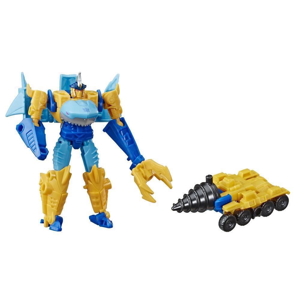 Transformers Cyberverse - Sky-Byte (con Spark Armor) - Si combina con il veicolo Driller Drive per potenziarsi - Adatto a bambini dai 6 anni in su, 10 cm