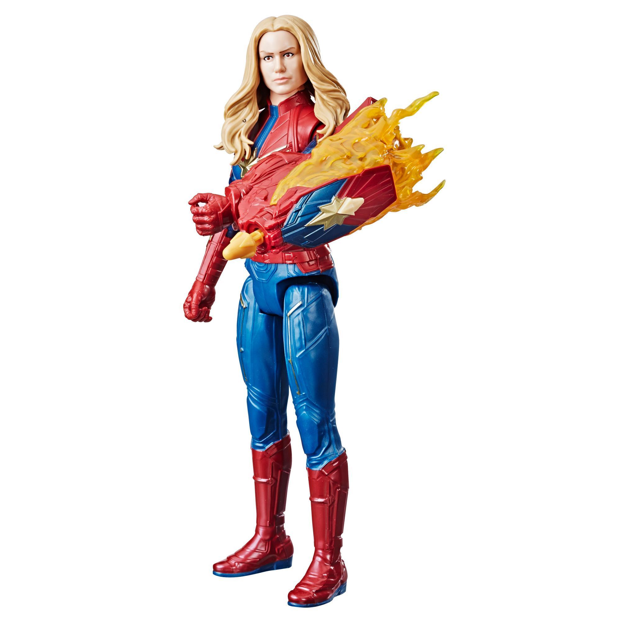Marvel Avengers: Endgame - Captain Marvel Titan Hero con Power FX incluso (Action Figure da 30 cm)
