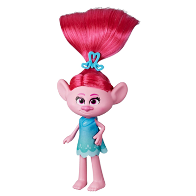 DreamWorks Trolls, bambola fashion Stylin' Poppy con abito removibile e accessori per capelli, ispirata a Trolls World Tour