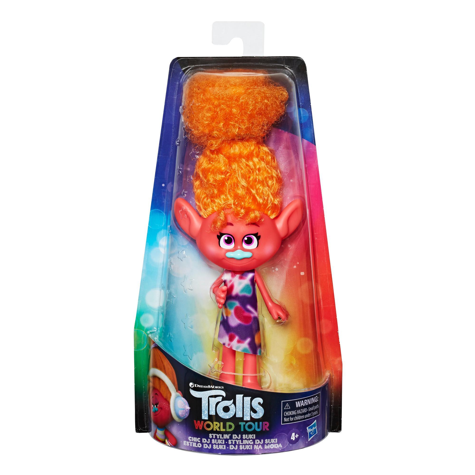 DreamWorks Trolls, bambola fashion Stylin' DJ Suki con abito removibile e accessori per capelli, ispirata a Trolls World Tour