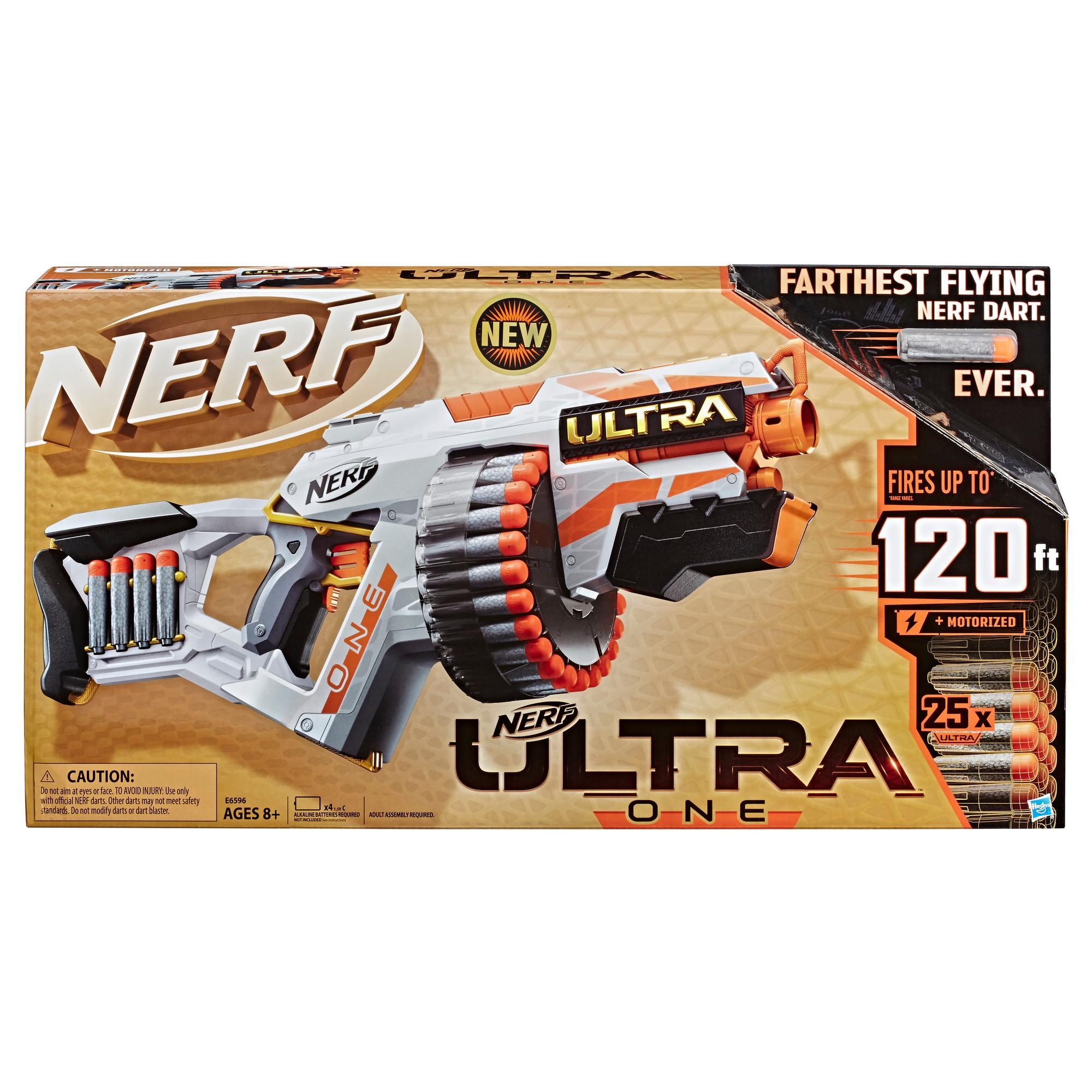 NERFウルトラワン・モーター付きブラスター、25本のNERFウルトラダーツ -- NERFウルトラワンダーツに限り互換性あり