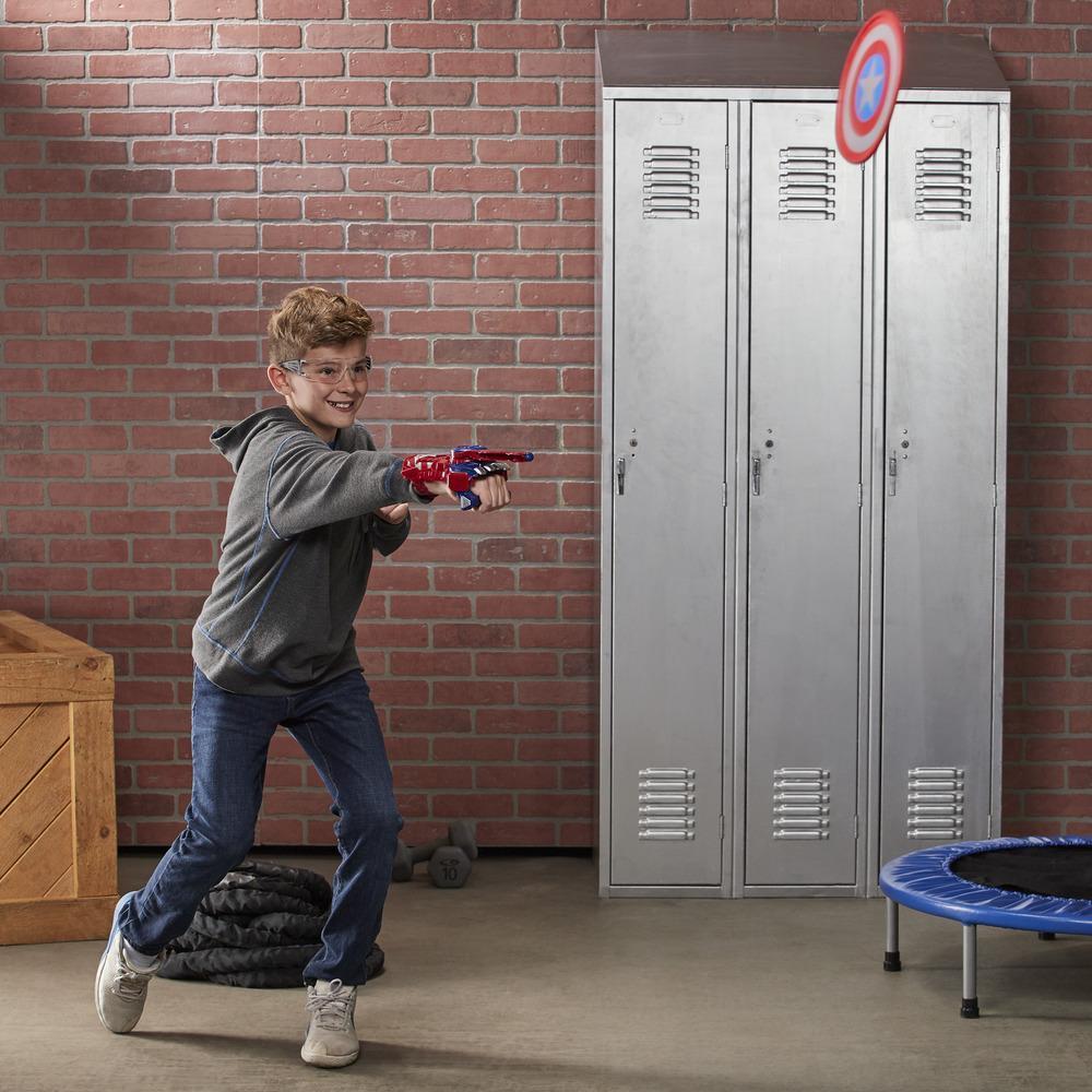 NERFパワームーブス・マーベル・アベンジャーズ・キャプテンアメリカ シールドスリングNERFディスク打ち上げ-お子様のロールプレイ用おもちゃ。対象年齢5歳以上