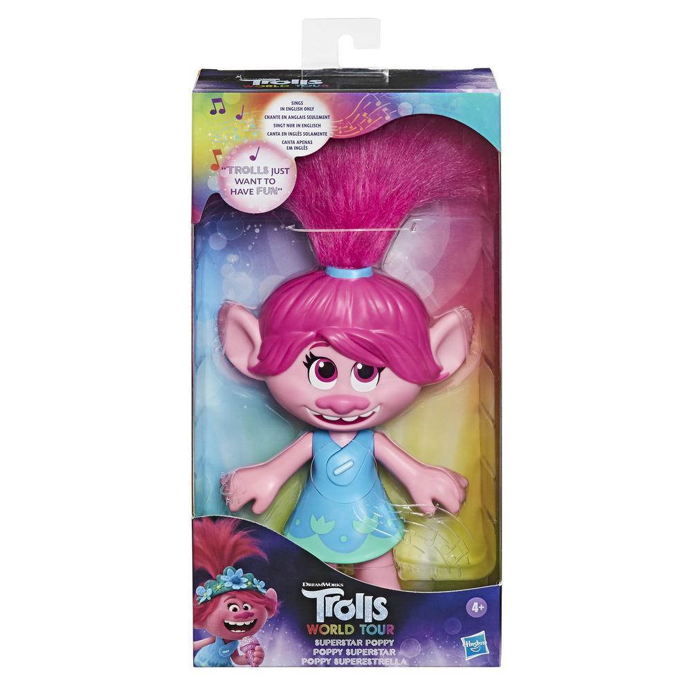 DreamWorks Trolls World Tour Superstar Poppy-pop, zingt Trolls Just Want to Have Fun, zingende speelgoedpop