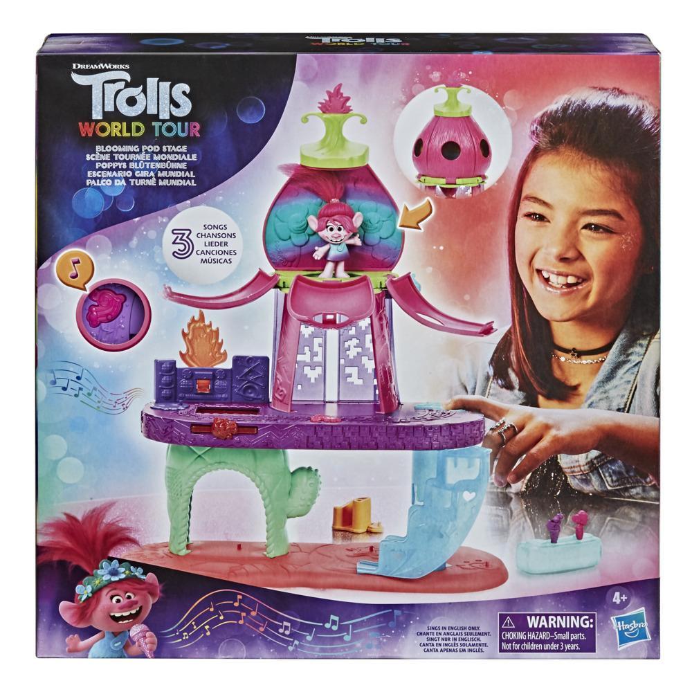 DreamWorks Trolls Wereldtour Bloemknoppodium muzikaal speelgoed, speelt 3 verschillende liedjes, speelset voor kinderen vanaf 4 jaar