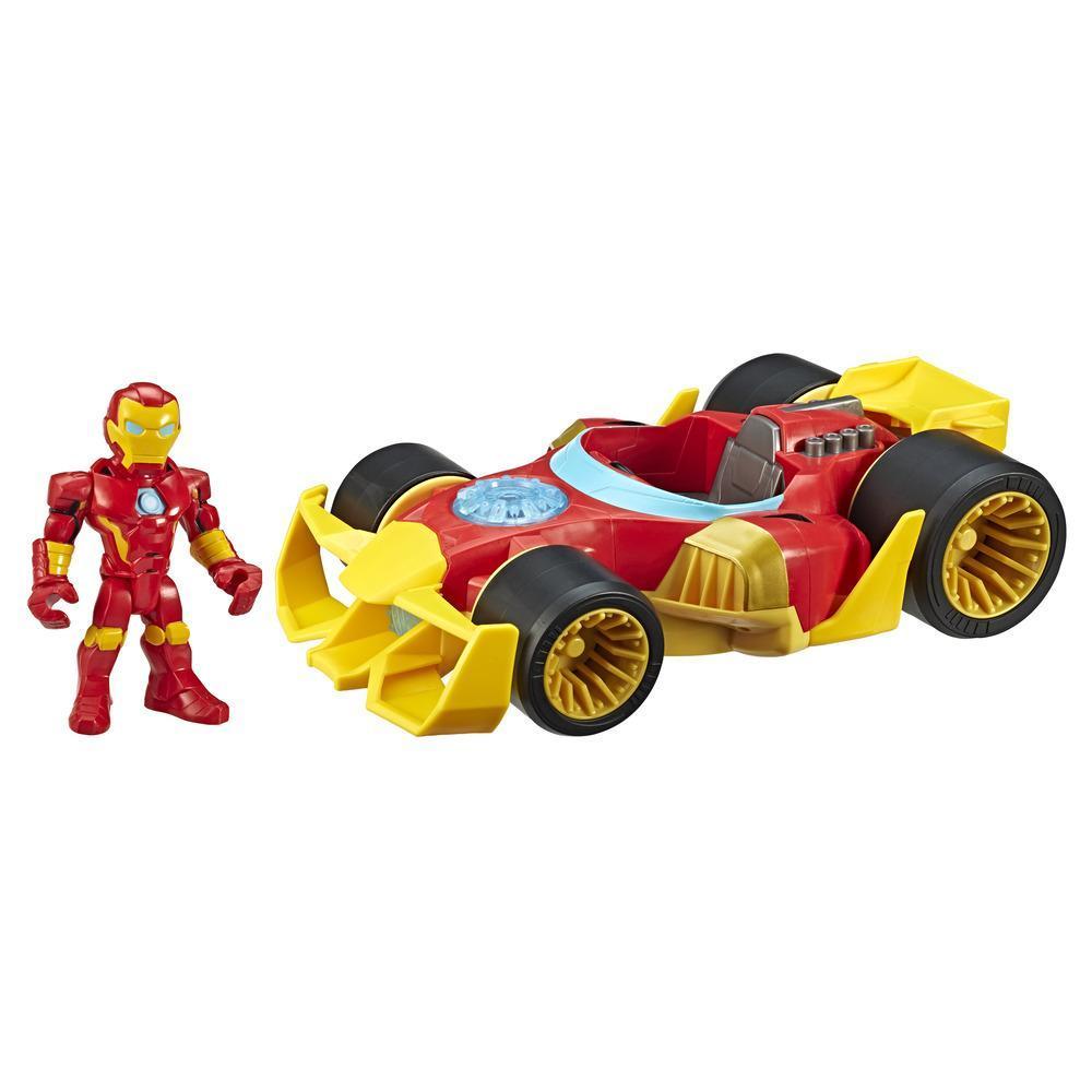 Playskool Heroes Marvel-superheldavonturen Iron Man Speedster, figuur-en-voertuigset van 12,5 cm, speelgoed om te verzamelen voor kinderen vanaf 3 jaar