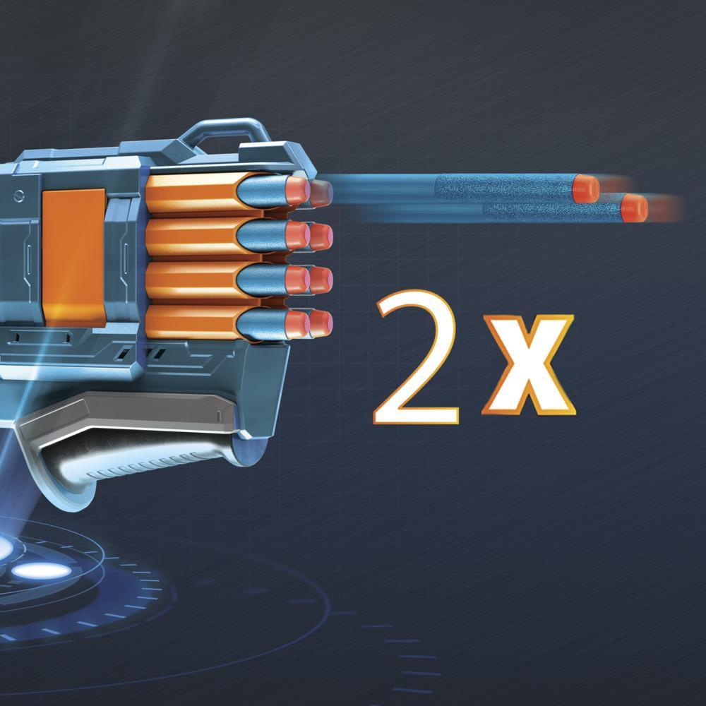 Nerf Elite 2.0 Warden DB-8-blaster, 16 officiële Nerf-darts, vuurt 2 darts tegelijk af, tactische rail, spervuur